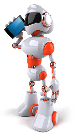 Cartoon robot on the phone Stock Photo
