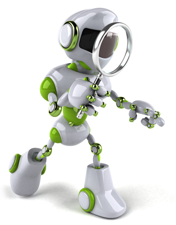 Cartoon robot with magnifying glass Stock Photo