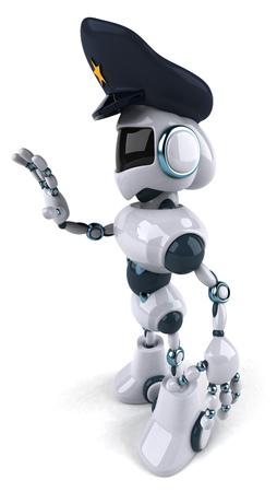 一時停止の標識を示す警察の帽子の漫画のロボット