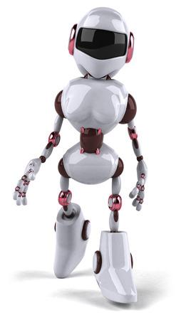 Cartoon female robot walking