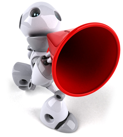Cartoon robot with a megaphone Stock Photo