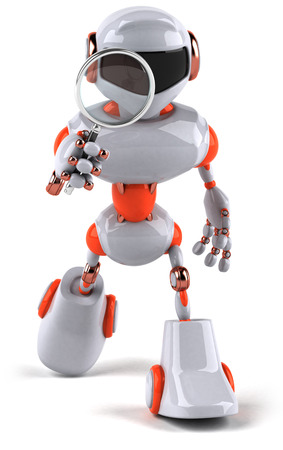 Cartoon robot with a magnifying glass Stock Photo