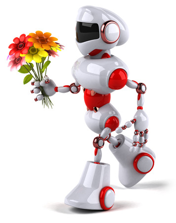 Cartoon robot with flowers