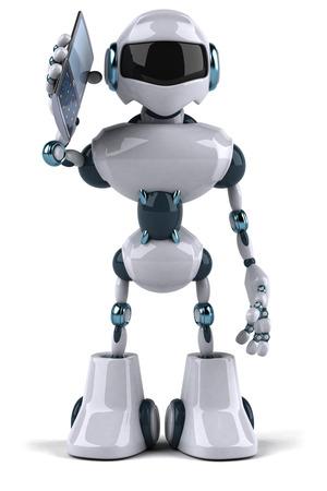 Cartoon robot with smartphone Stock Photo