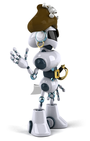 Cartoon robot with pirate hat is waving