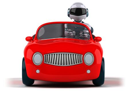 Robot and car Stock Photo
