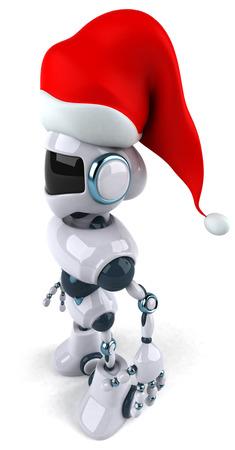 Cartoon robot with Santa hat