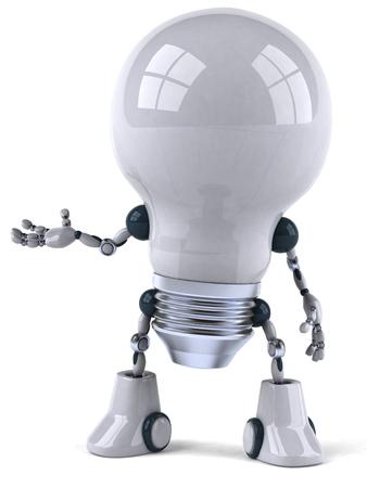 Cartoon robot light bulb