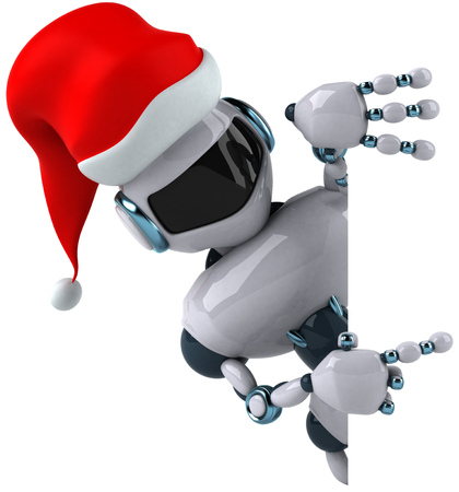 Cartoon robot with Santa hat is pointing