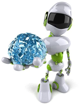 Cartoon robot with a brain Stock Photo