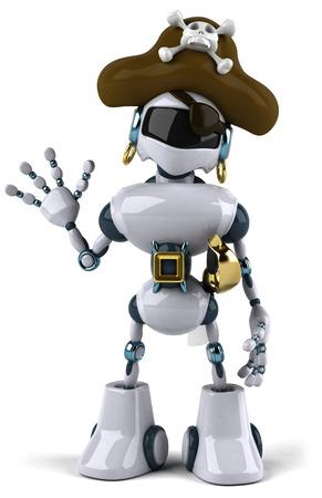 Cartoon robot with pirate hat waving