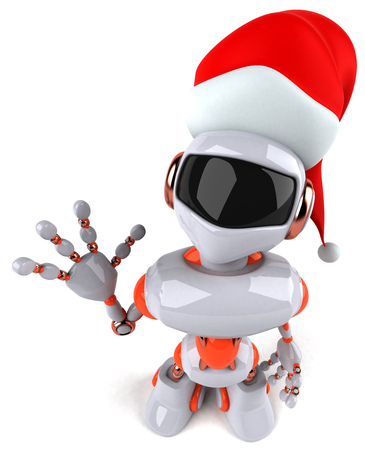 Cartoon robot with Santa hat waving