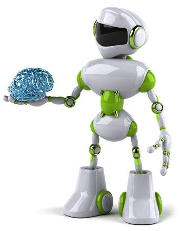 Cartoon robot with a brain Stock Photo