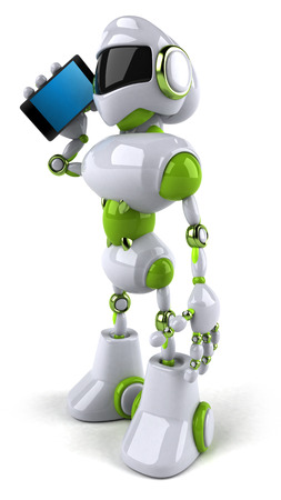 Cartoon robot with smartphone Stock Photo