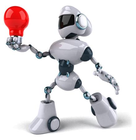 Cartoon robot with a light bulb