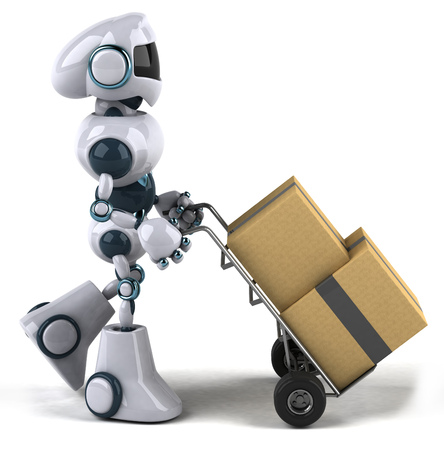 Cartoon robot pushing trolley with boxes