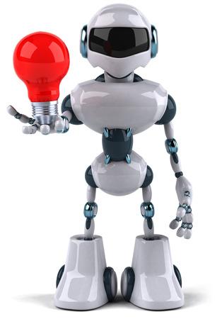 Cartoon robot holding a light bulb Stock Photo