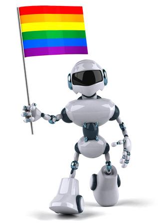 Cartoon robot holding a pride flag Stock Photo