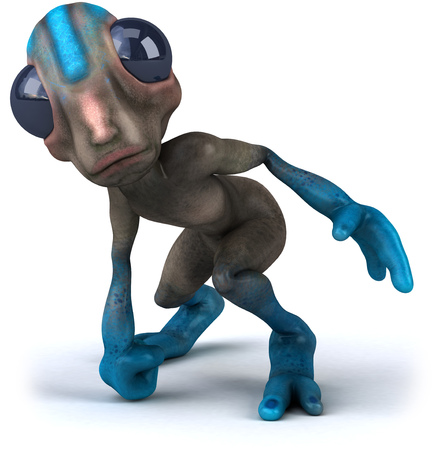 crouch: Cartoon alien posing Stock Photo