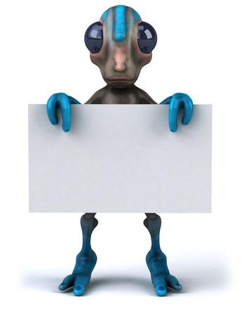 Cartoon alien holding a placard