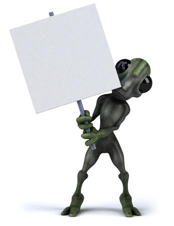Cartoon alien holding signboard