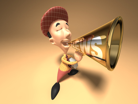 Cartoon boy with megaphone Stock Photo