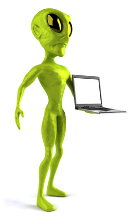 Cartoon alien with a laptop Stock Photo