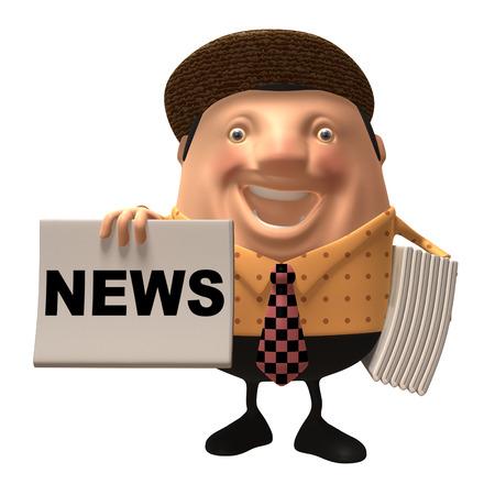 Cartoon man with newspapers