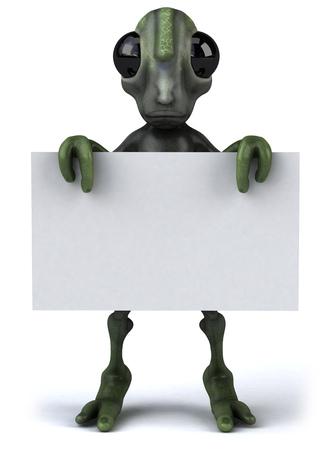 Cartoon alien with a placard