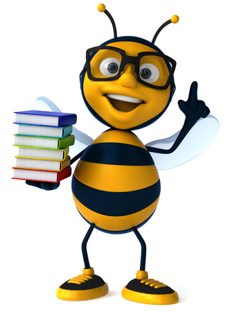 Cartoon bee with a book