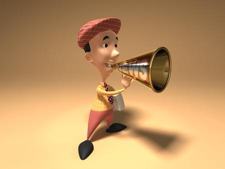 Cartoon boy with megaphone Stock Photo