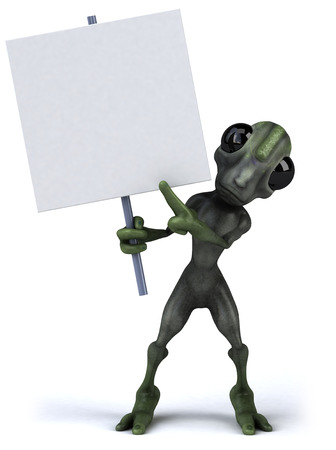 Cartoon alien holding a signboard