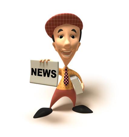 Cartoon boy with newspapers Stock Photo