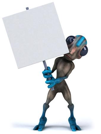 Cartoon alien with signboard