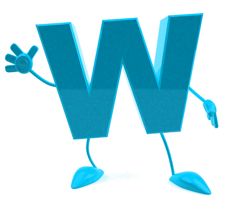 Stripfiguur van letter w Stockfoto - 81853002