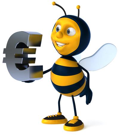 Cartoon bee with Euro sign Stock Photo