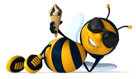 만화 꿀벌 아이스크림과 함께 누워