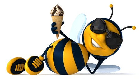Cartoon bee laying down with ice cream