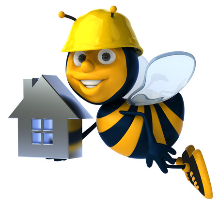 Cartoon bee with safety hat and house concept