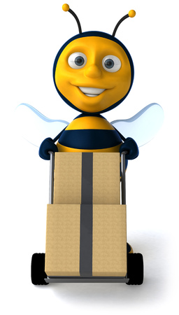 Cartoon bee pushing trolley with boxes