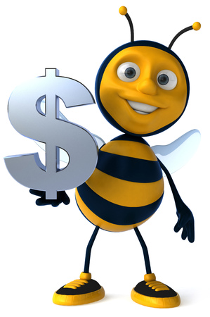 antennae: Cartoon bee with dollar symbol