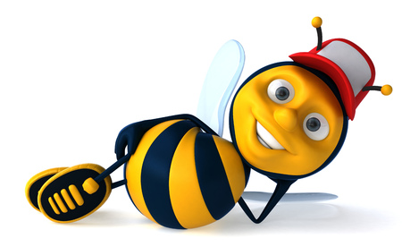 lay down: Cartoon bee with cap laying down