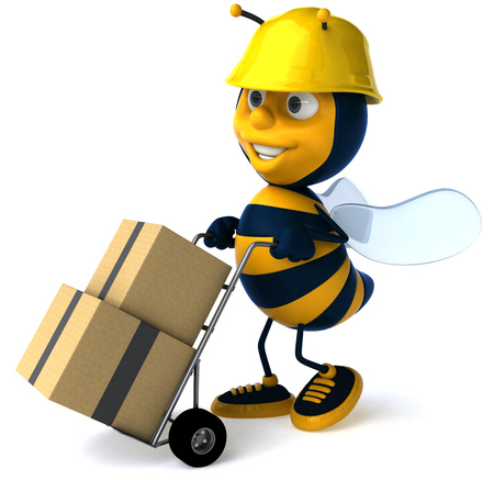 Cartoon bee with safety hat pushing trolley with boxes