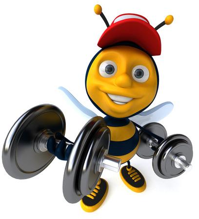 Cartoon bee with cap weigh lifting