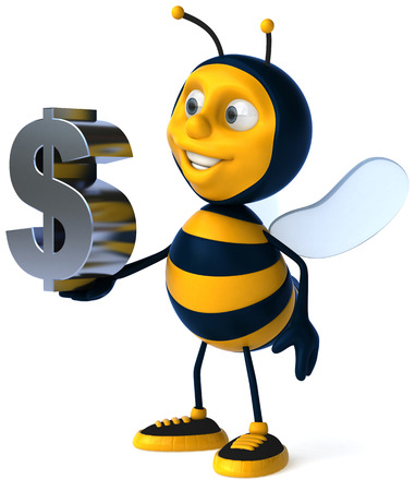 arthropod: Cartoon bee with dollar symbol