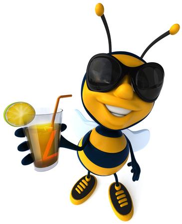 Cartoon bee with sunglasses enjoying cocktail drink