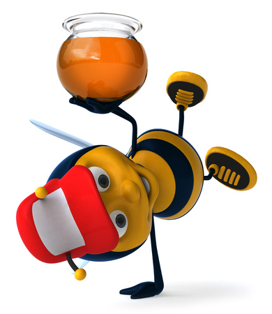 Cartoon bee doing handstand while holding honey pot Stock Photo