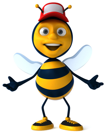 Cartoon bee with a cap