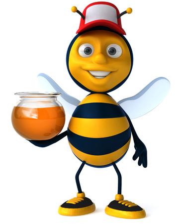Cartoon bee with cap and honey pot