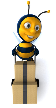 Cartoon bee pushing trolley and boxes